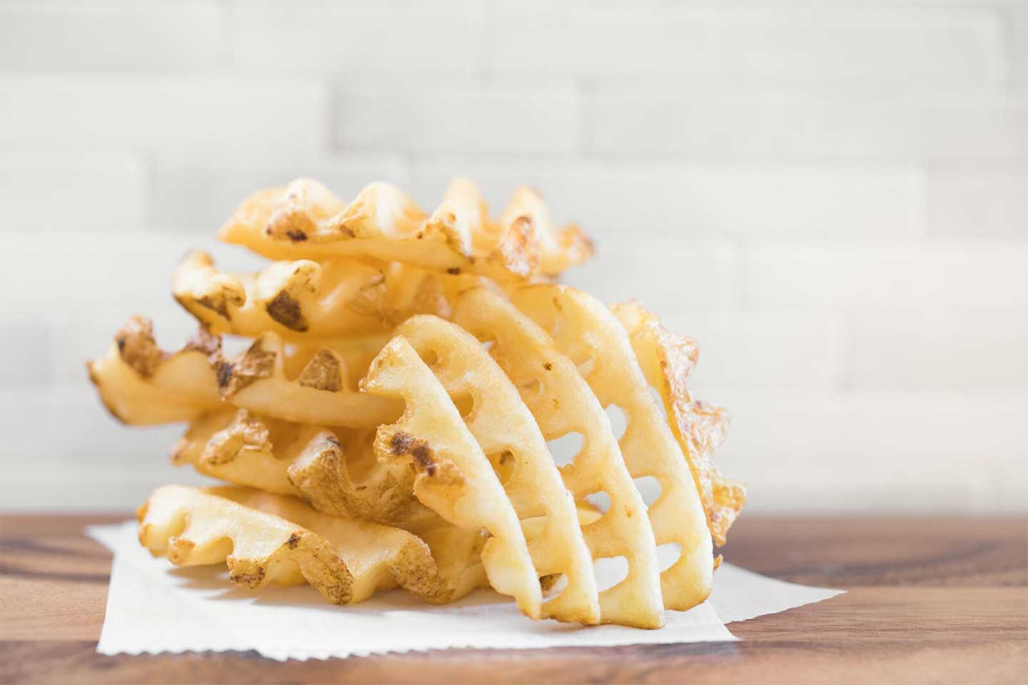 Chick-fil-A Waffle Fries on a white napkin